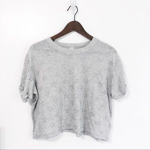 Alternative Gray Cropped Tee with Glitter Stars